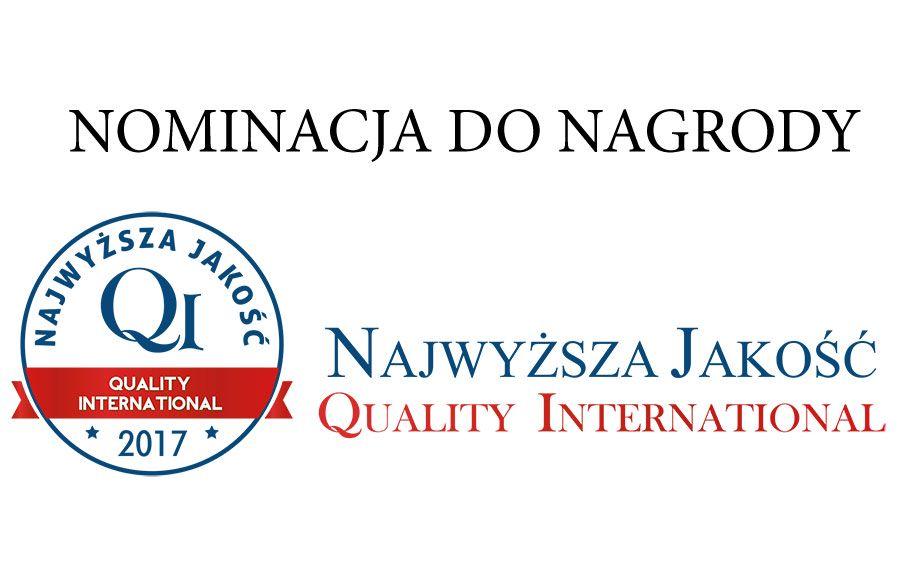 Nominacja do tytułu Najwyższa Jakość Quality International 2017