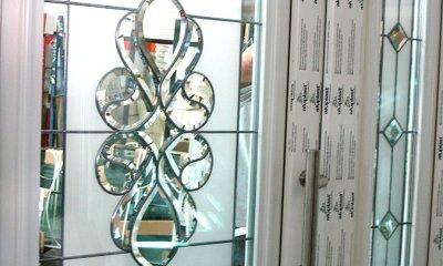 Drzwi zewnętrzne PVC białe z witrażem