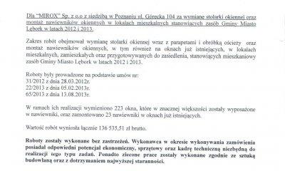 MIROX opinie od Miejskiego Zarządu Gospodarki Komunalnej w Lęborku