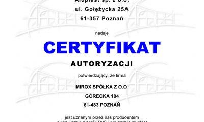 Certyfikaty Autoryzacji Aluplast