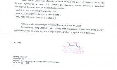 MIROX opinia - referencje od Urzędu Gminy Czerwonak