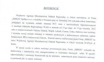MIROX opinia - zaświadczenie od WAM Gdynia