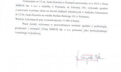 MIROX opinie - referencje od Gimnazjum nr 12 im. Jacka Kuronia w Poznaniu