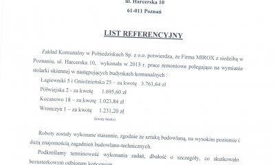 MIROX opinia od Zakładu Komunalnego w Pobiedziskach