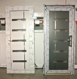 Drzwi wejściowe PVC biało - szare