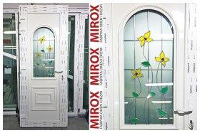 drzwi pvc, drzwi wejściowe, drzwi petunia, drzwi z witrażem